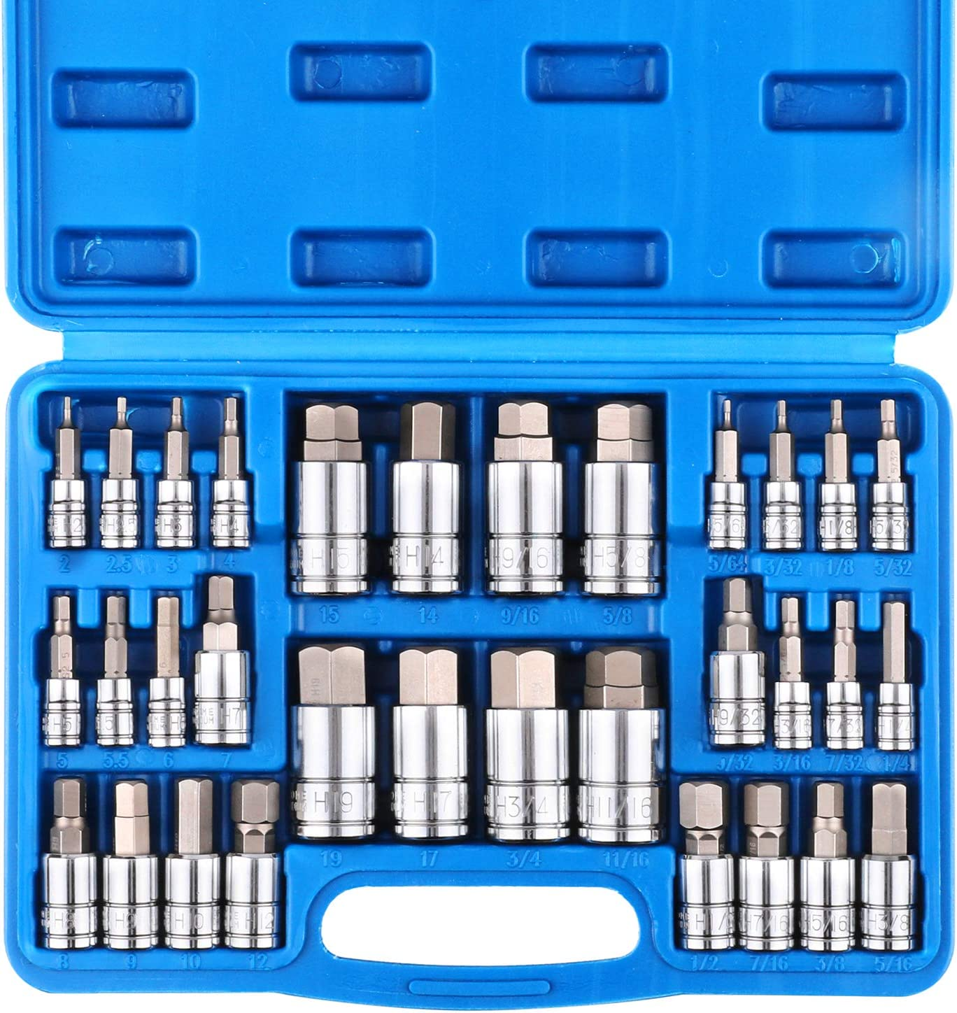 CASOMAN 32 Piece Master Hex Bit Socket Set