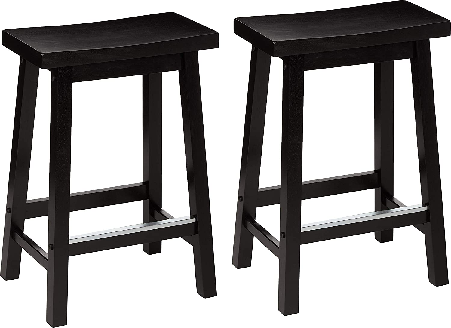 Classic Solid Wood Saddle-Seat Counter Stool (2 Pack)