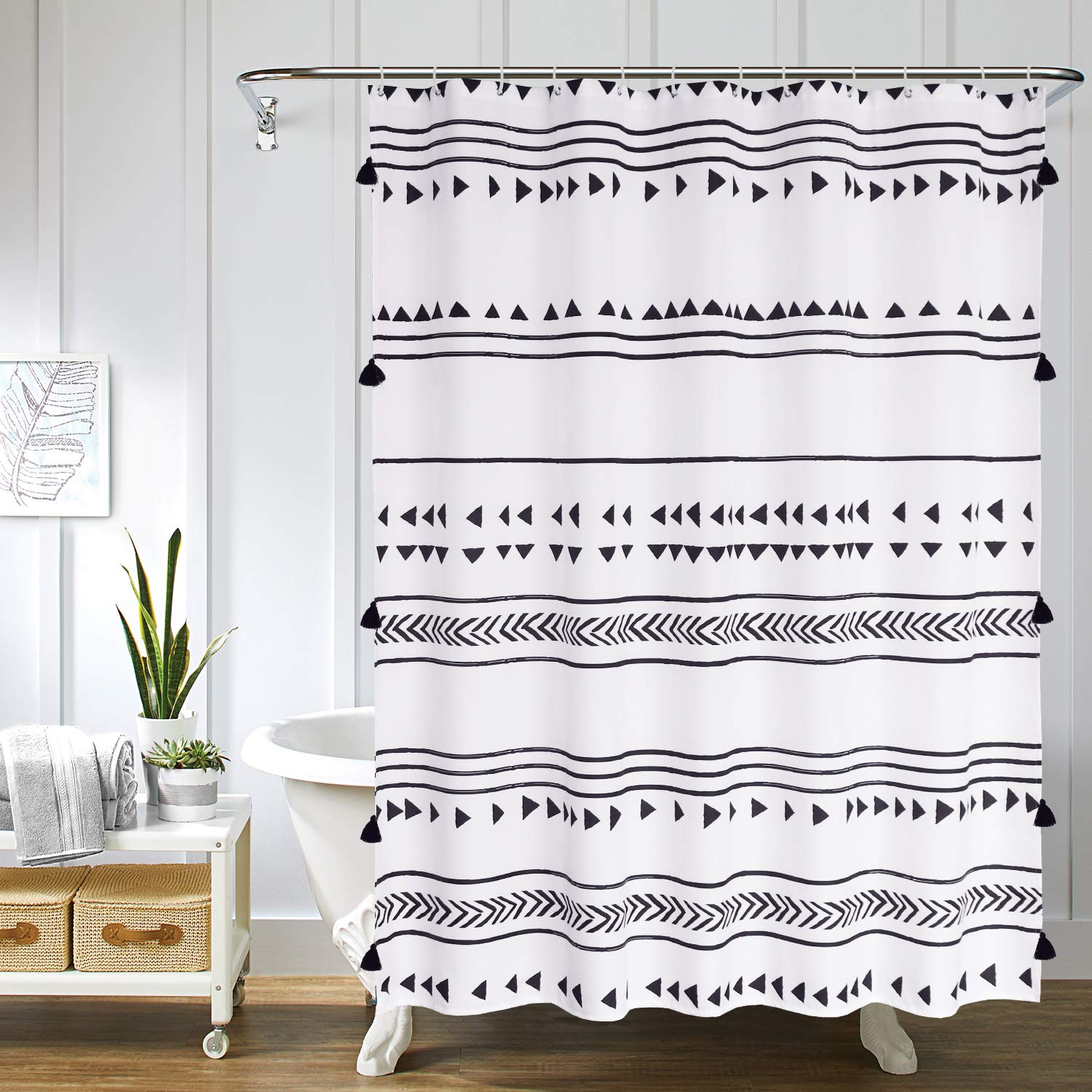 Uphome Fabric Boho Shower Curtain Black And White African Triangle Stripes Geometric Tassel Shower Curtain Set With Hooks Chic Tribal Bathroom Decor Accessories Heavy Duty And Waterproof 72x72 Buy Online In Pakistan