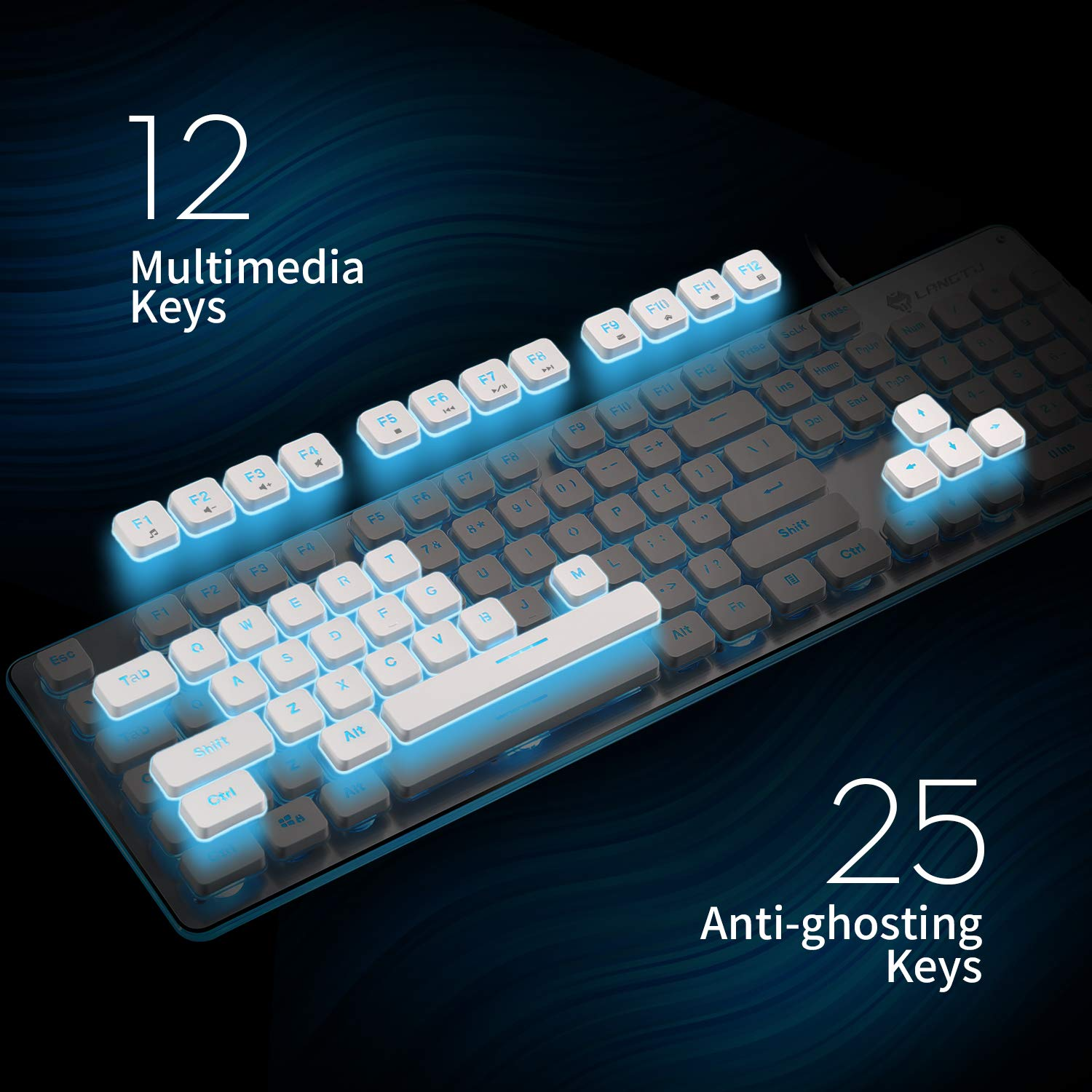 USB Wired All-Metal Panel 25 Keys Anti-ghosting Computer Keyboard 104 Keys PIPA Membrane Gaming Keyboard L1 White//Silver Rainbow LED Backlit Quiet Keyboard for Office