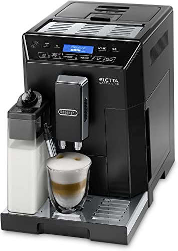 Delonghi super-automatic espresso coffee machine with an adjustable grinder, double boiler, milk frothermaker for brewing espresso, cappuccino, latte