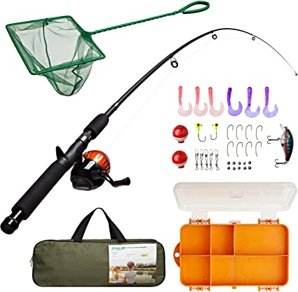 Lanaak Kids Fishing Pole and Tackle Box with Net