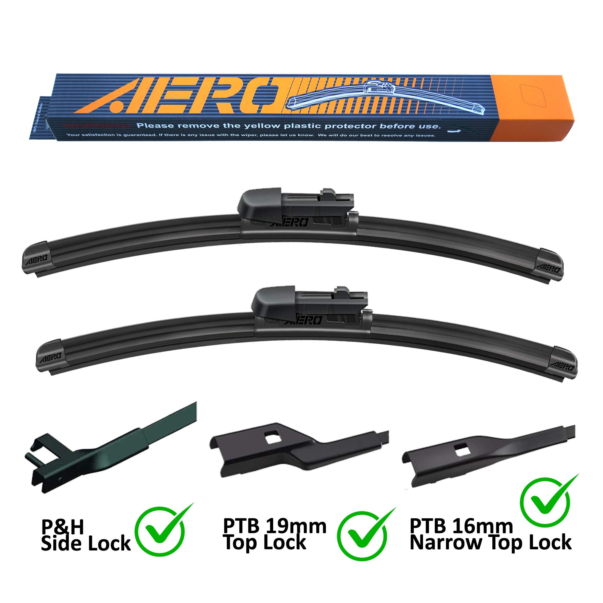 Pack of 2 OEM Quality 22+21 Premium All-Season Auto Windshield Natural Rubber J-Hook Wiper Blades
