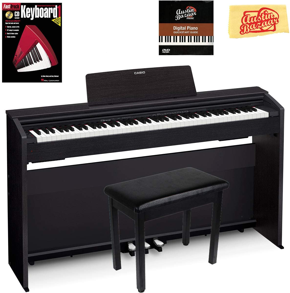 Casio Privia PX-870 Digital Piano - Black Bundle with Furniture Bench