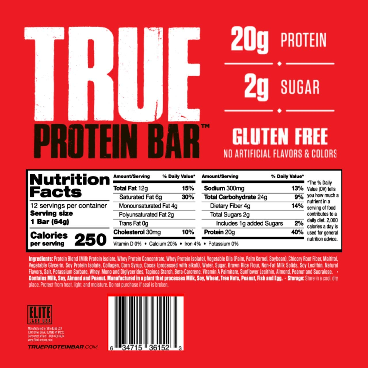 True Protein Bar - Salted Caramel | 2g of Sugar | Gluten Free | Low Calories | 20g of high Quality Protein (Salted…