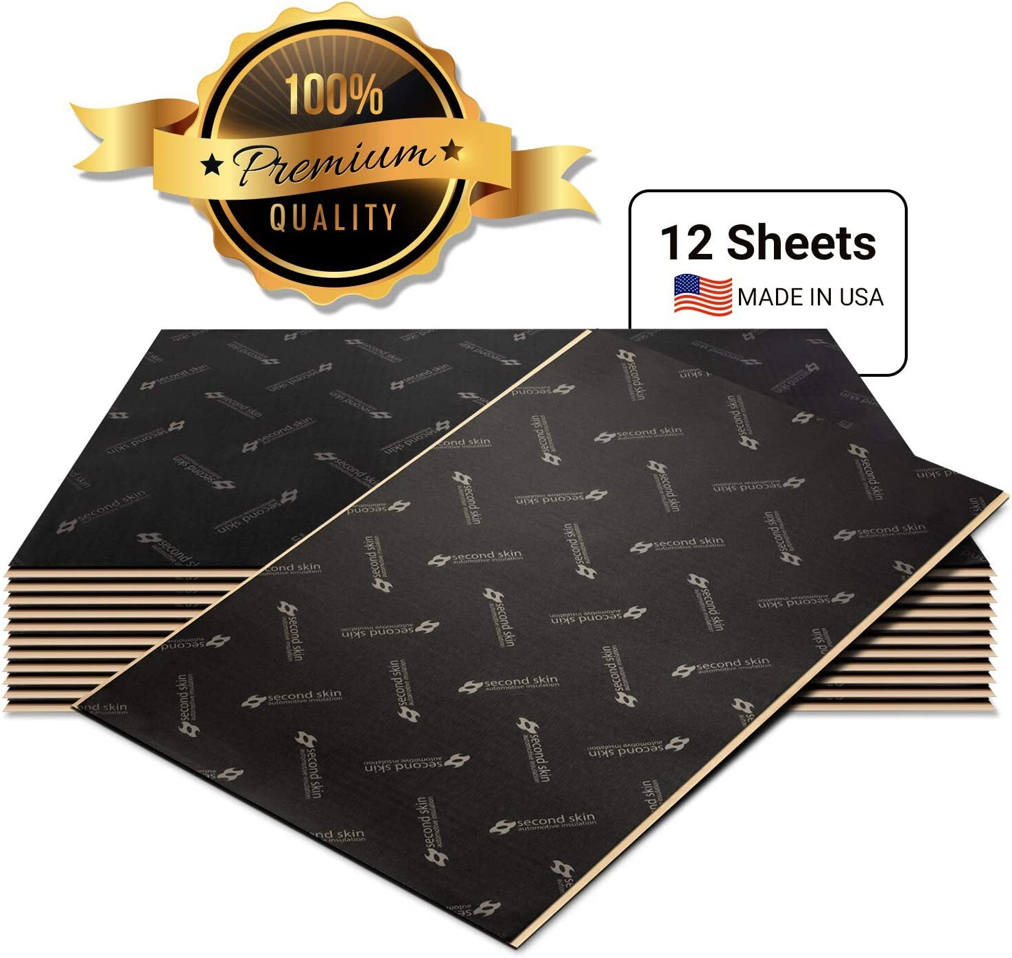 Second Skin Damplifier Pro Premium Car Sound Deadening Material (2mm) – Butyl Rubber Auto Sound Deadener Mat (20 Sq Ft, 12 Sheets) – Made in The USA