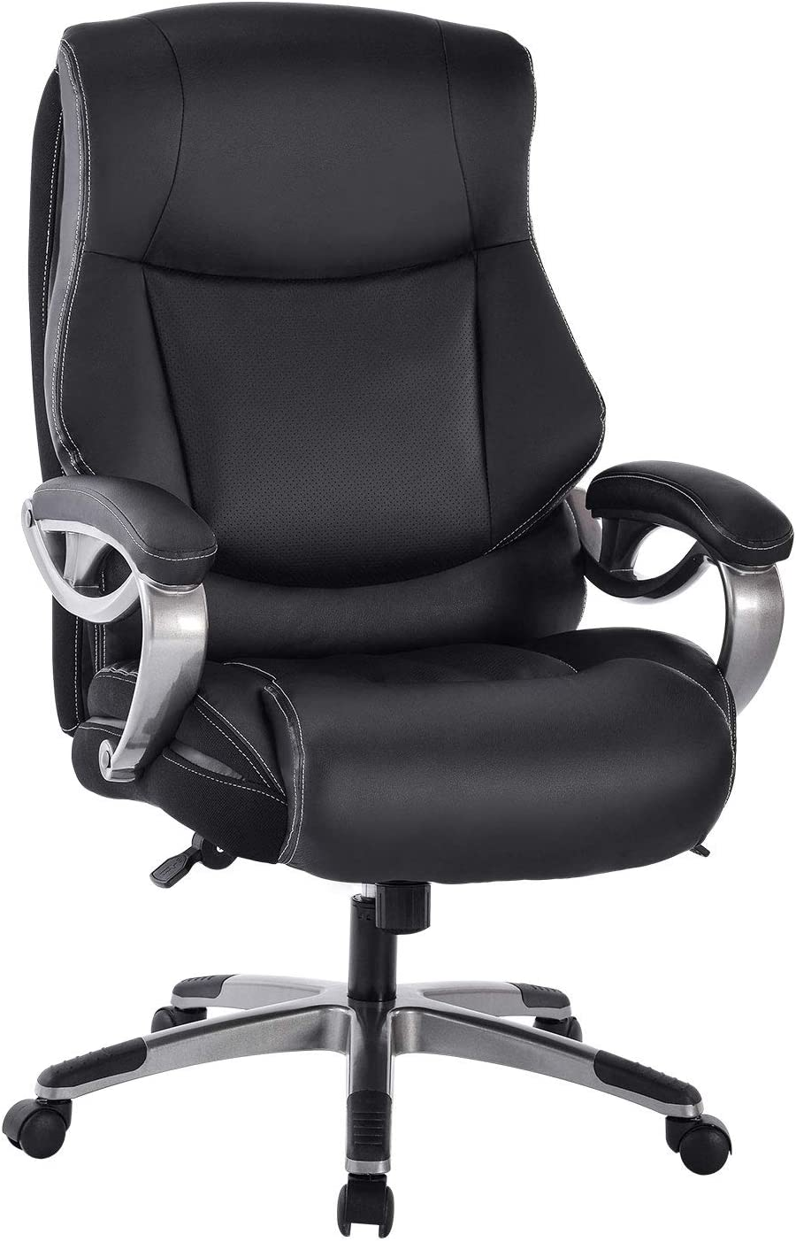High Back Executive Office Chair - Big Tall Bonded Leather Ergonomic Computer Desk Swivel Chair