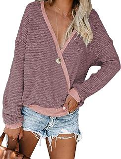Womens Deep V Neck Wrap Sweaters Long Sleeve Waffle Knit...