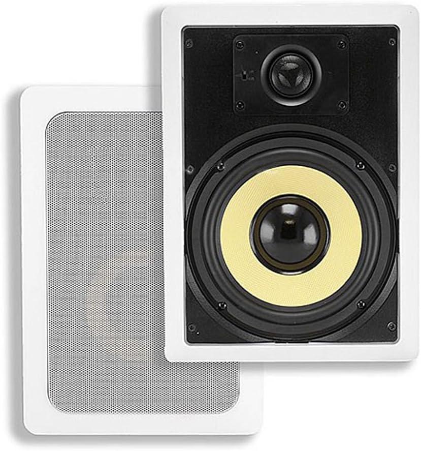 Monoprice 2-Way Aramid Fiber in-Wall Speakers - 6.5 Inch (Pair) Titanium Silk Dome Tweeters