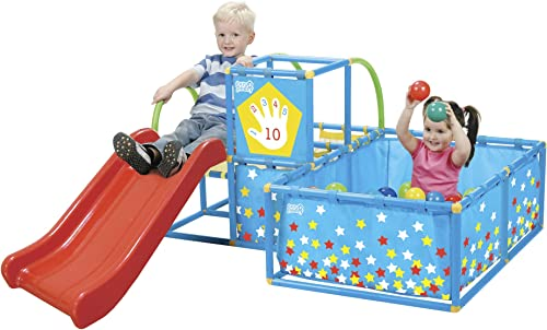 Eezy Peezy Active Play 3 In 1 Jungle Gym Play Set red slide with blue climber and ball pit decorated with stars