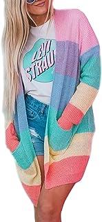 Women's Long Sleeve Rainbow Color Block Open Front Drape...
