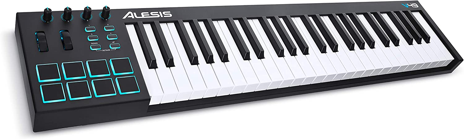 Alesis V49 | 49 Key USB MIDI Keyboard Controller with 8 Backlit Pads, 4 Assignable Knobs and Buttons