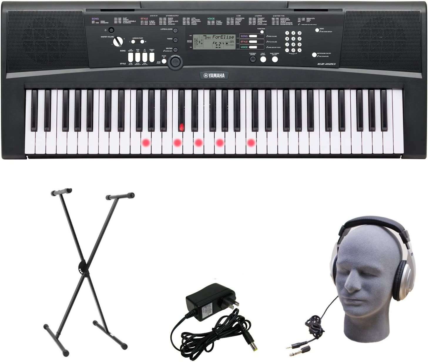 Yamaha EZ-220 61-Lighted Key Portable Keyboard Package with Headphones