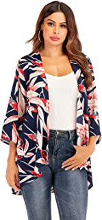 Women 3/4 Sleeve Print Chiffon Casual Loose Beach Kimono...