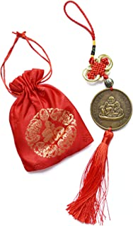 Laughing Buddha Chinese Feng Shui Happy Buddha Coin with Chinese Knot Red Tassels for Happiness Money and Wealth by Novelty House