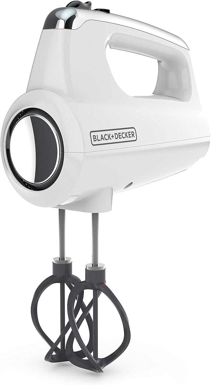 Black+Decker MX600W Helix Performance Premium Hand, 5-Speed Mixer, White, 5 Attachments + Case