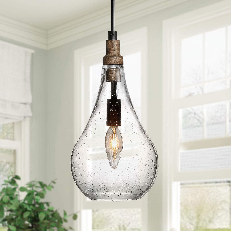 KSANA Farmhouse Wood and Glass Pendant Lighting