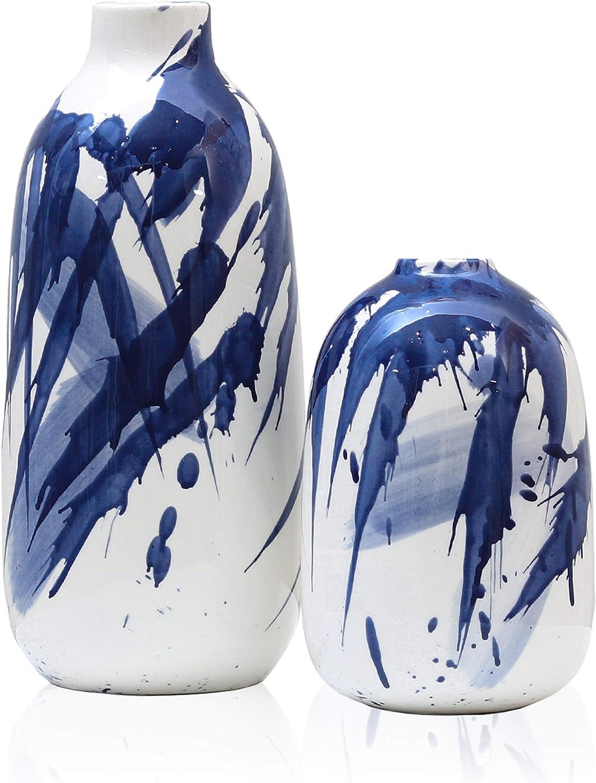 Set of 2 Indigo Pattern Flower Vases