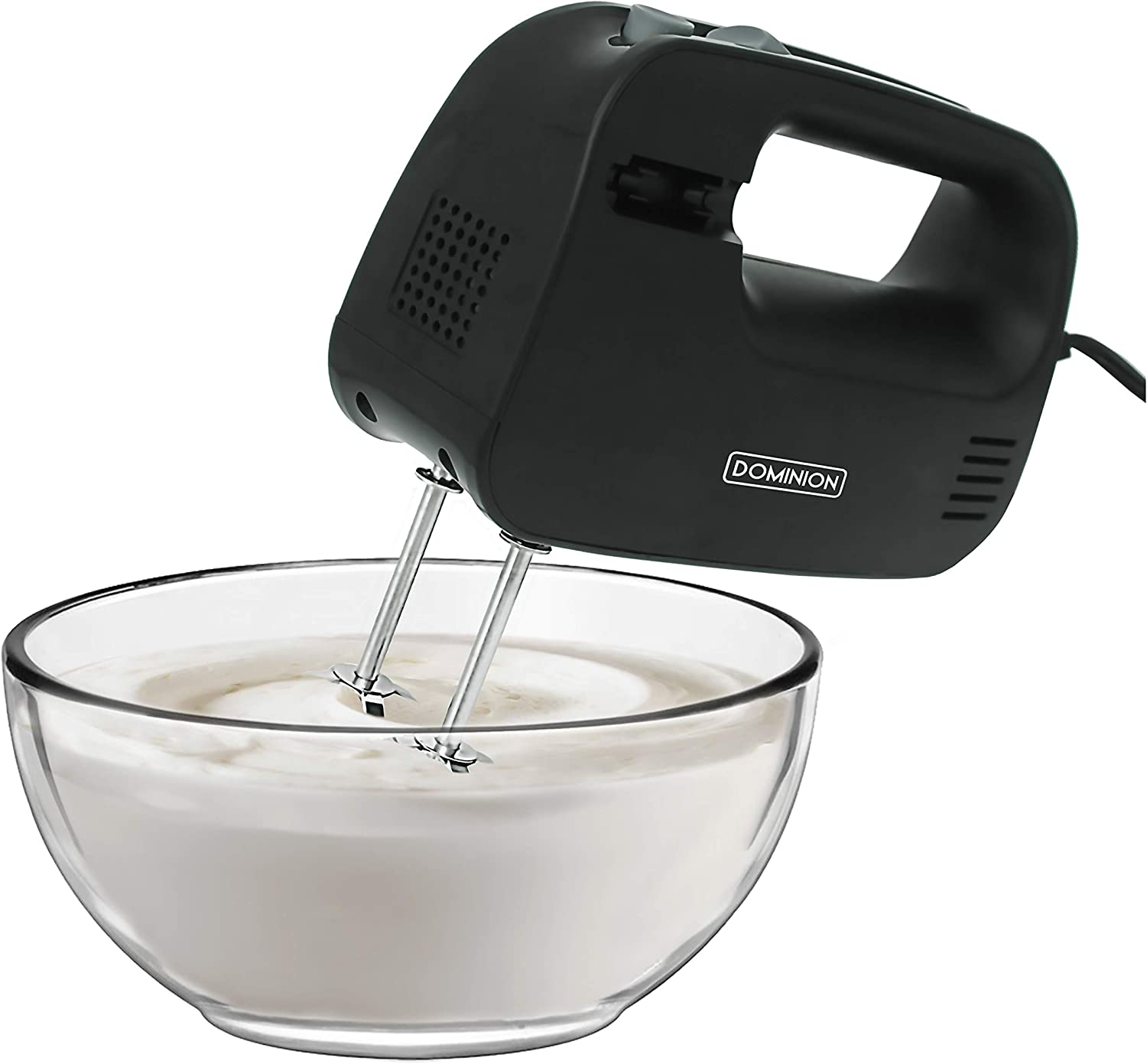 Dominion Electric Hand Mixer, 3 Mixing Speeds, Clever Built In Beater Storage, 2 Stainless Steel Chrome Beaters, Ideal for Whipping & Mixing Cookies