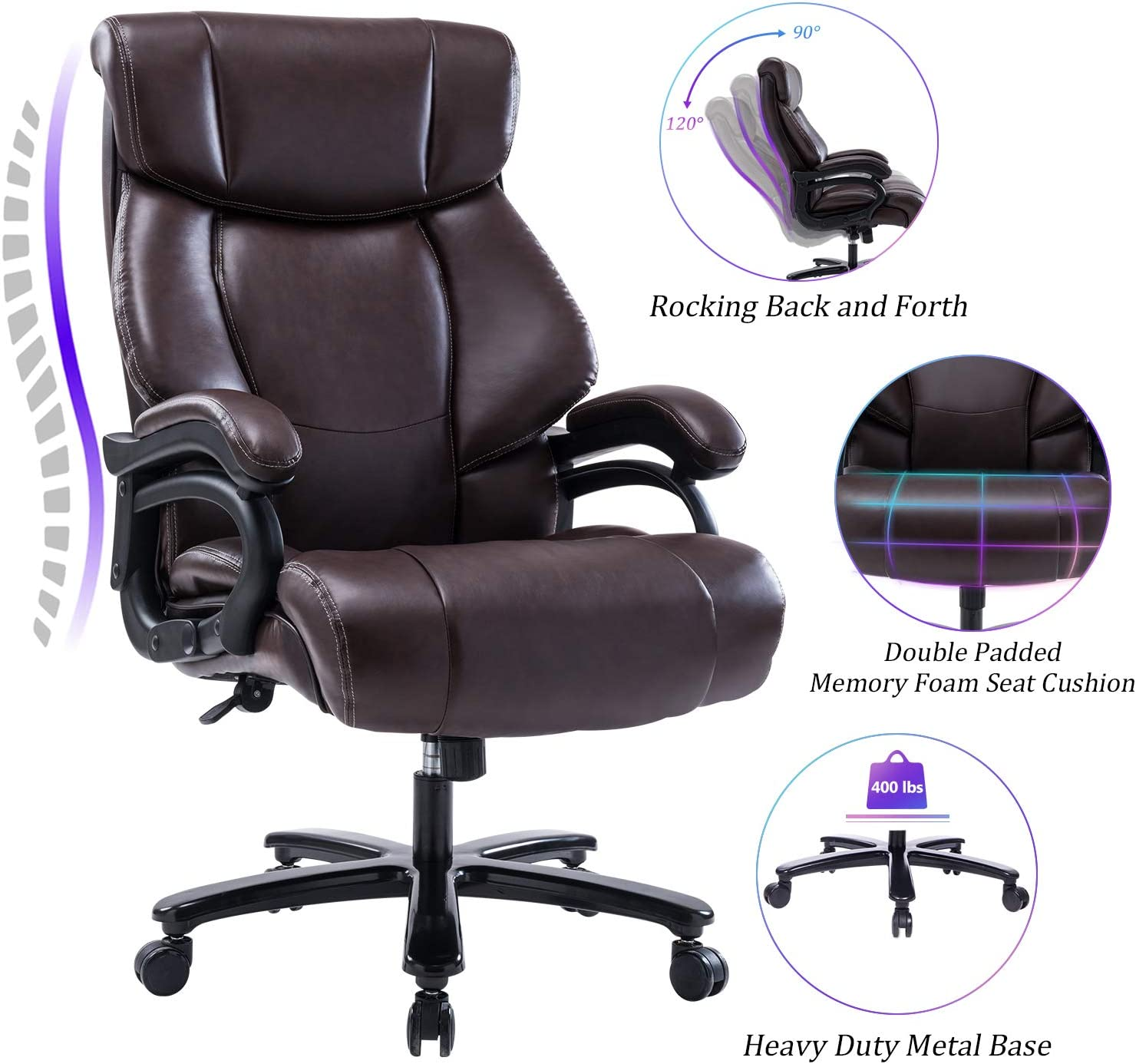 Reficcer High Back Big & Tall 400lb Leather Office Chair Executive Desk Computer Task Swivel Chair - Heavy Duty Metal Base