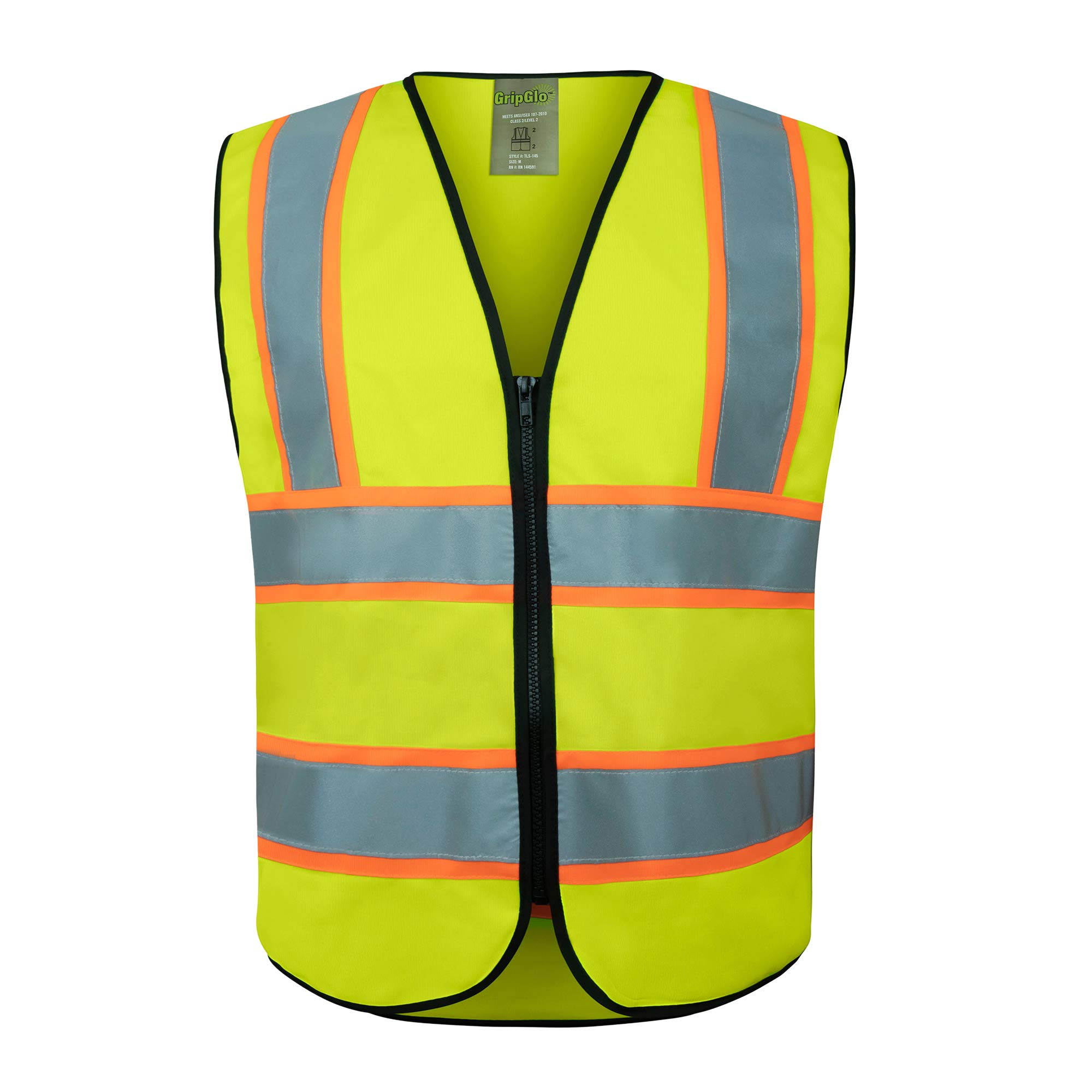GripGlo Reflective Safety Vest, Bright Neon Color with 2 Inch Reflective Strips - Orange Trim - Zipper Front, X-Large