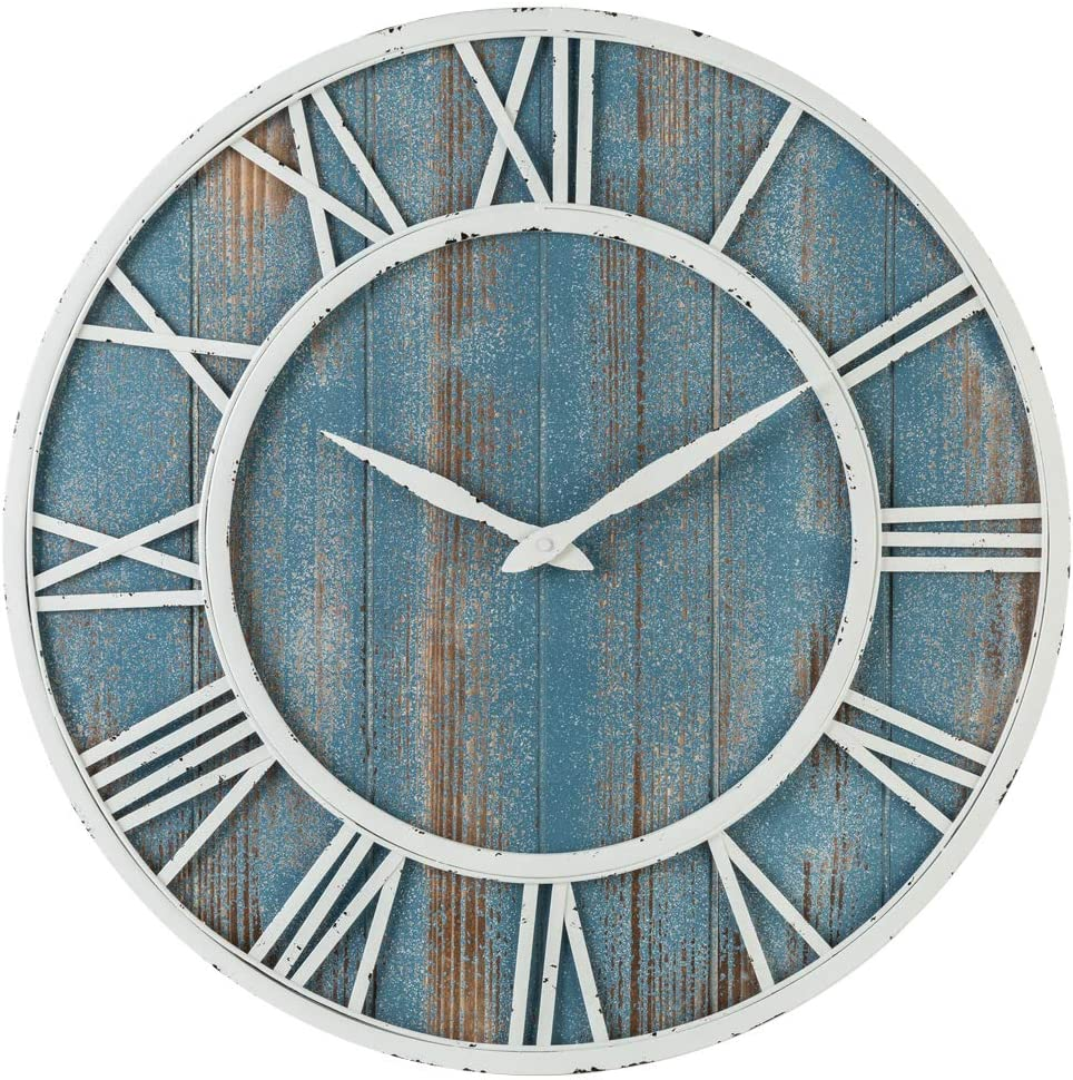 Oldtown Farmhouse Metal & Solid Wood Noiseless Wall Clock