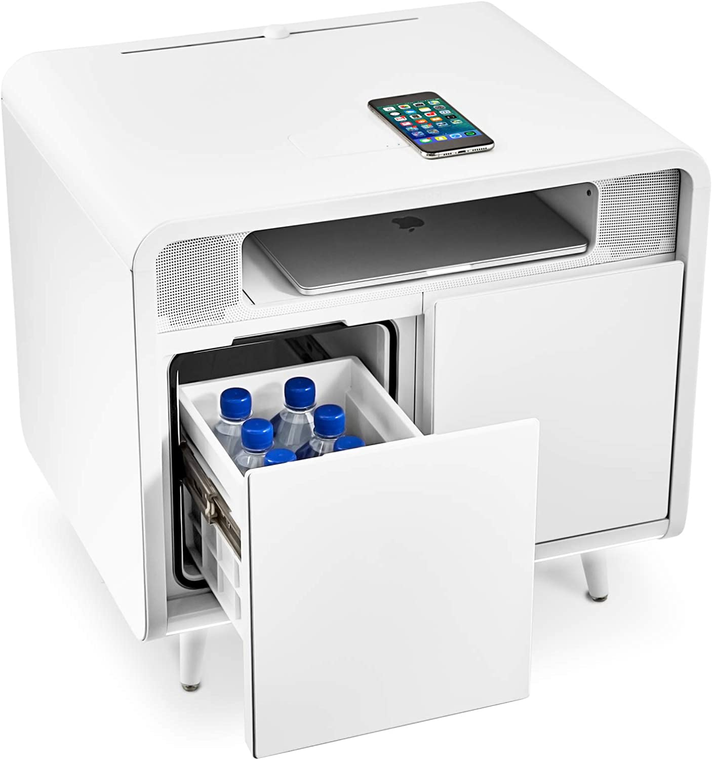 SOBRO Smart Side/Nightstand Table with LED Light, Wireless Charging, Cooling Drawer, Bluetooth Speakers