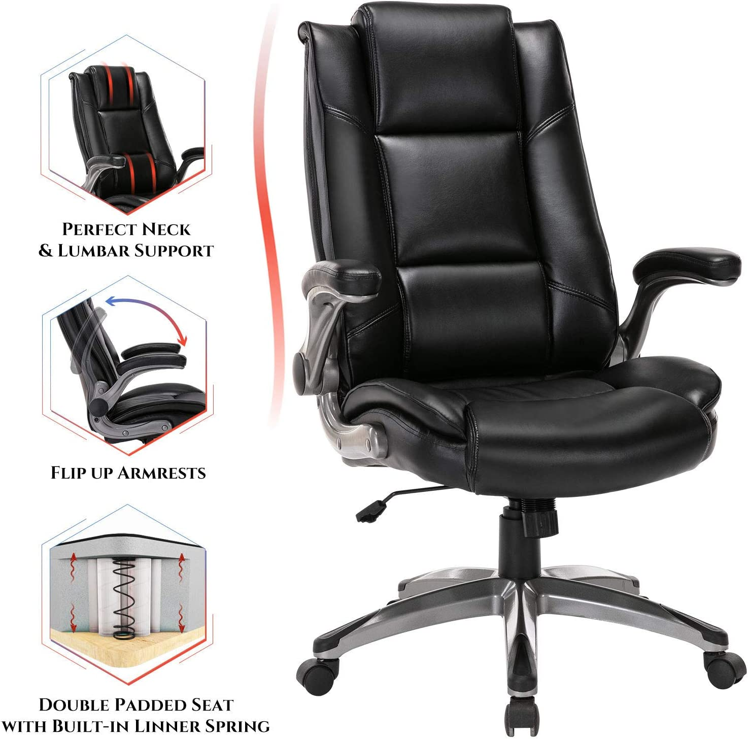 Office Chair High Back Leather Executive Computer Desk Chair - Flip-up Arms and Adjustable Tilt Angle Swivel Chair
