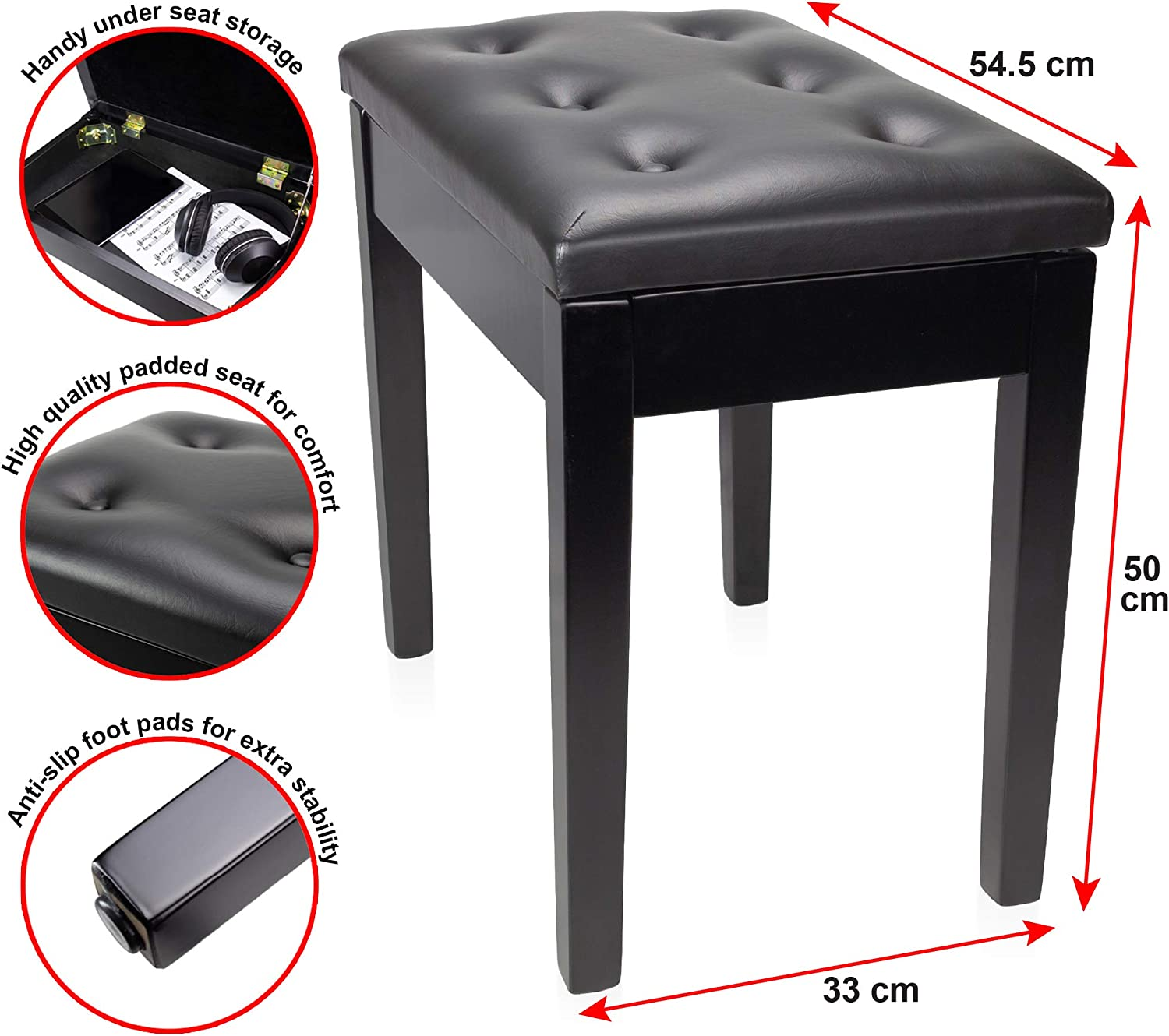 RockJam Padded Wooden Piano Bench Stool with Storage