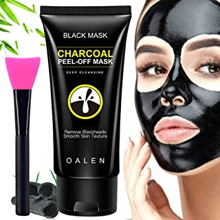 Blackhead Remover Mask,Blackhead Peel Off Mask,Bamboo Activated Charcoal Mask,Black Mask Deep Cleaning Facial Mask with Brush 50 ml