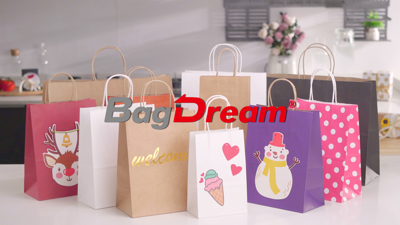 Paper Bags 8x4.25x10.5 100Pcs BagDream Gift Bags, Party Bags, Shopping Bags, Kraft Bags, Retail Bags, Merchandise Bags, Brown Paper Bags with Handles Bulk