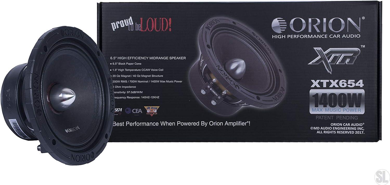 "Orion XTX654 6.5"" 1400 Watts High Efficiency Midrange Mid Range Bass Loud 4 Ohm Car Audio Speakers Pair"