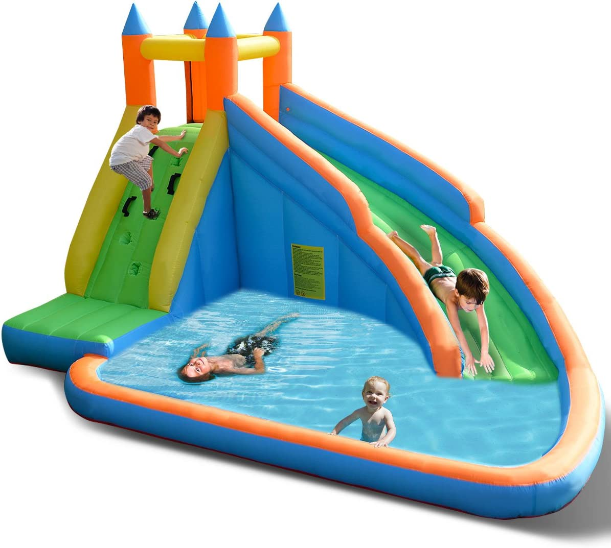 Costzon Inflatable Slide Bouncer, Water Pool with Long Slide, Climbing Wall