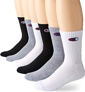 Men's Double Dry Moisture Wicking Logo 6-Pack Crew Socks