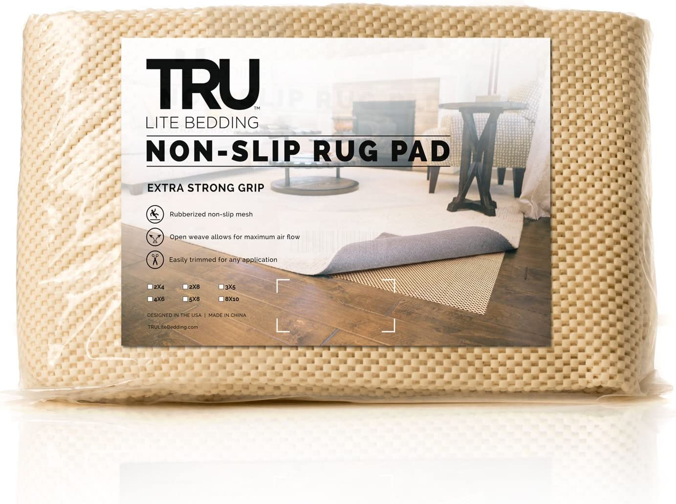 TRU Lite Extra Strong Rug Gripper - Non Slip Furniture Pad - Indoor Carpet Pad for Hardwood Floors - Anti Skid Mat - Anchors Rugs to Floors - Trim to fit Any Size - 8' x 10'