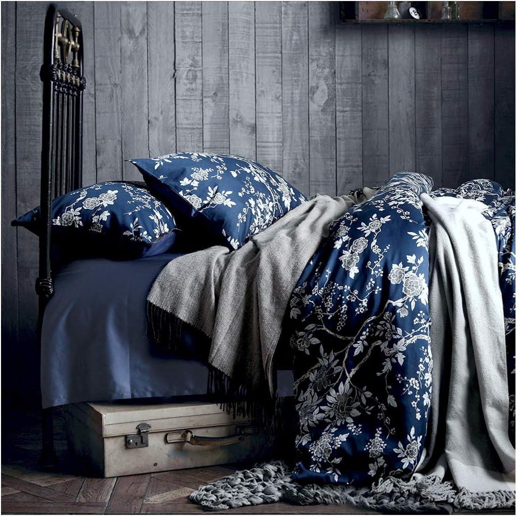 Eastern Floral Chinoiserie Blossom Print Duvet Quilt Cover Navy