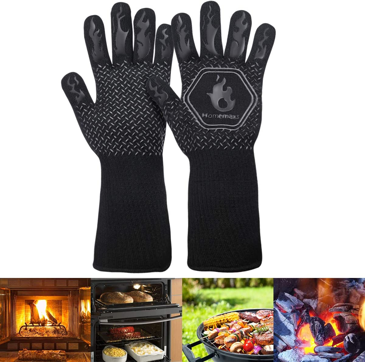 BBQ Gloves,Extreme Heat Resistant Grill Gloves, Food Grade Kitchen Oven Mitts, Silicone Non-Slip Cooking Gloves -Black