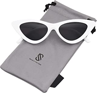 Retro Vintage Narrow Cat Eye Sunglasses for Women Clout...