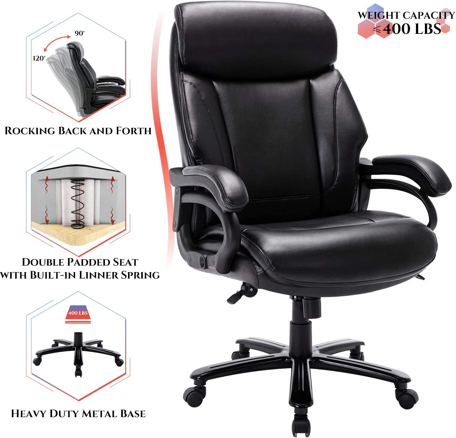 STARSPACE High Back Big & Tall 400lb Bonded Leather Office Chair Large Executive Desk Computer Swivel Chair
