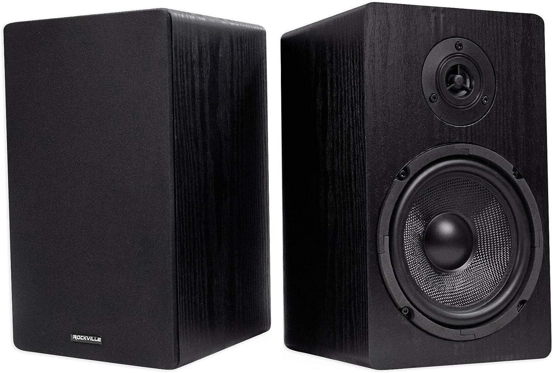 "Pair Rockville RockShelf 64B Black 6.5"" Home Bookshelf Speakers W/Kevlar Woofers"