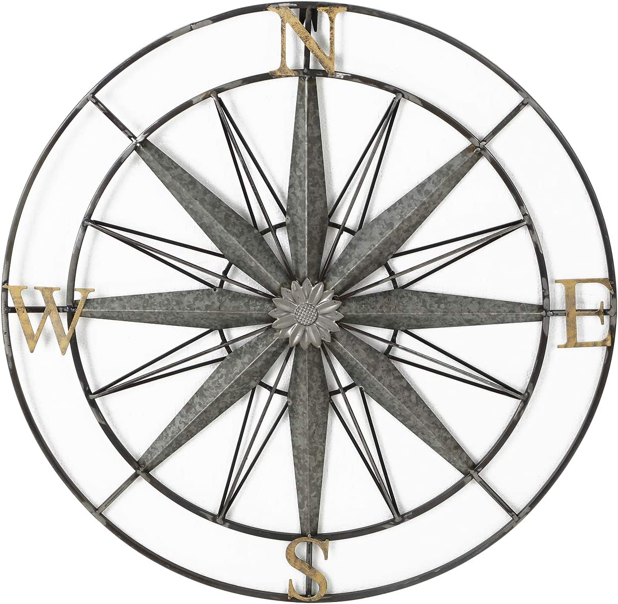 Adeco Decorative Compass Metal Wall Hanging Art