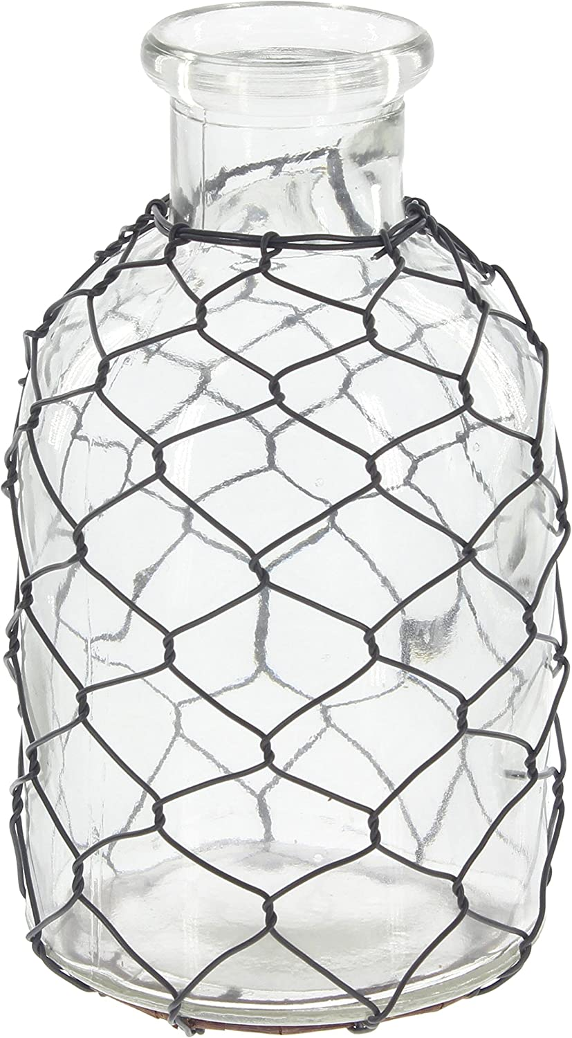 Farmhouse Glass Bottle with Chicken Wire Wrap