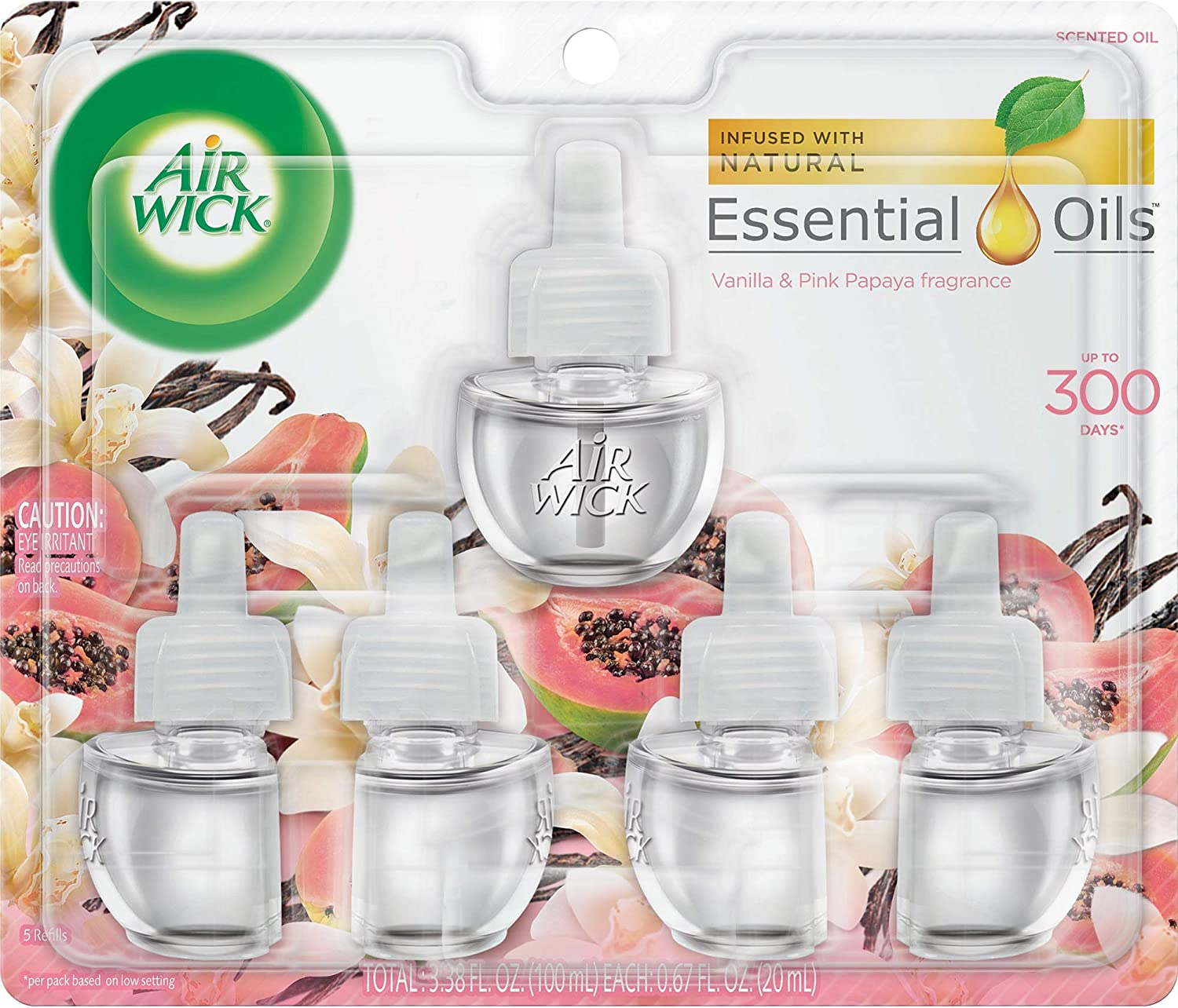 Air Wick plug in Scented Oil 5 Refills, Vanilla & Pink Papaya, (5x0.67oz), Essential Oils, Air Freshener
