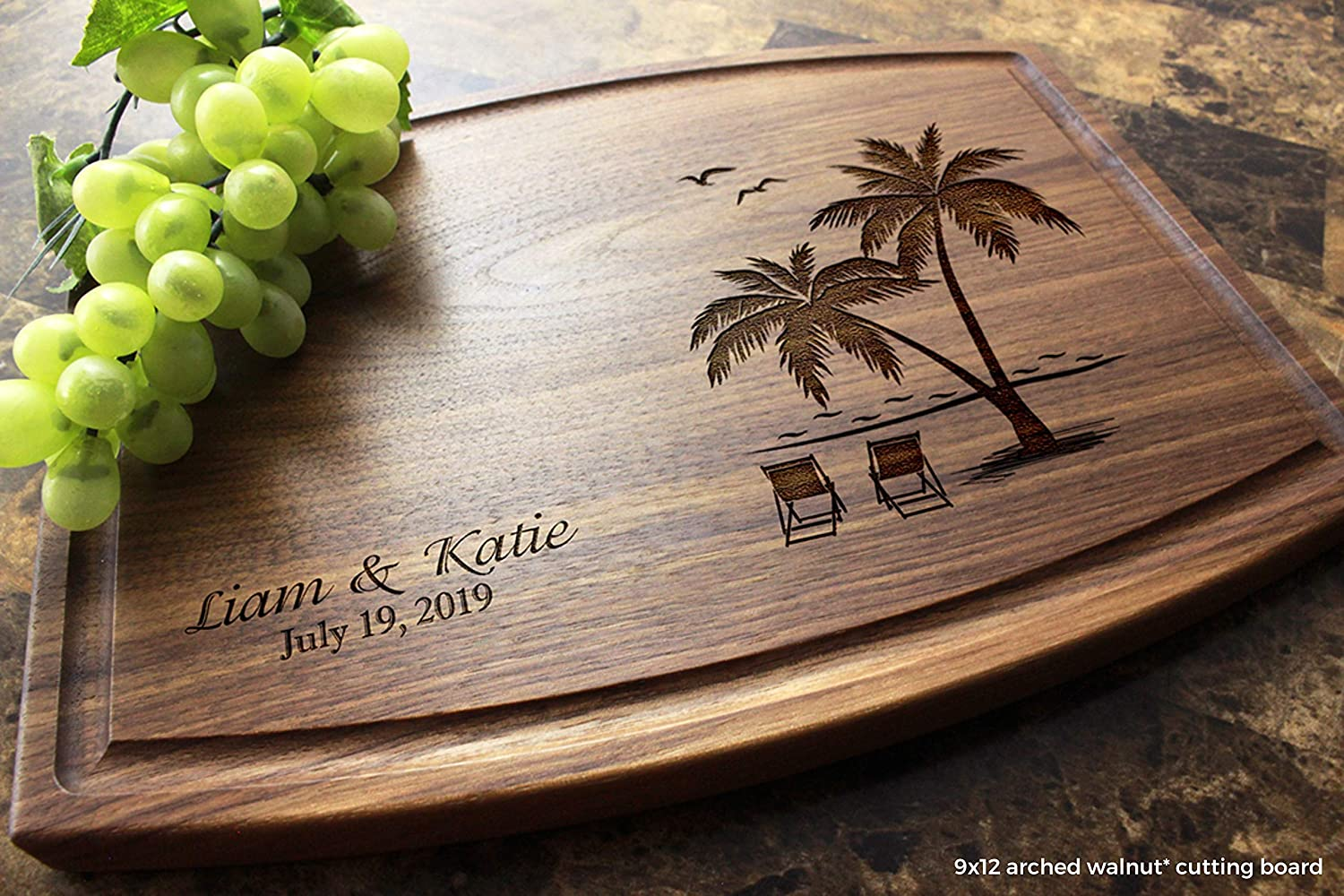 Palm and Beach Personalized Engraved Cutting Board