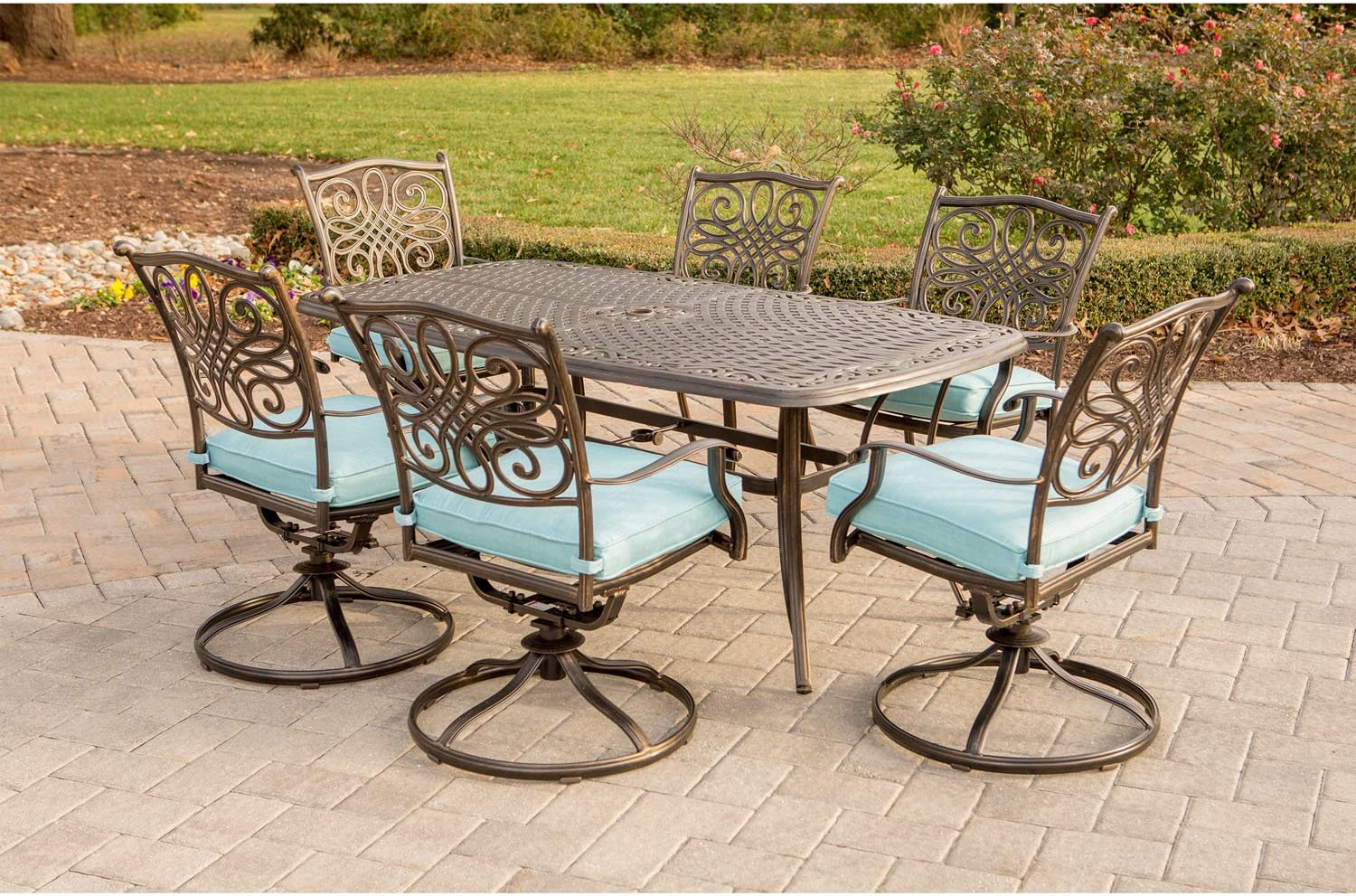 Hanover Traditions 7-Piece Metal Dining Set with 6 Swivel Chairs and a Large 72 x 38″ Dining Table