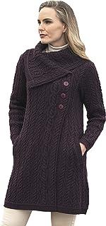Women's Cable Knit Soft Collar 3 Button Coat (100% Merino...