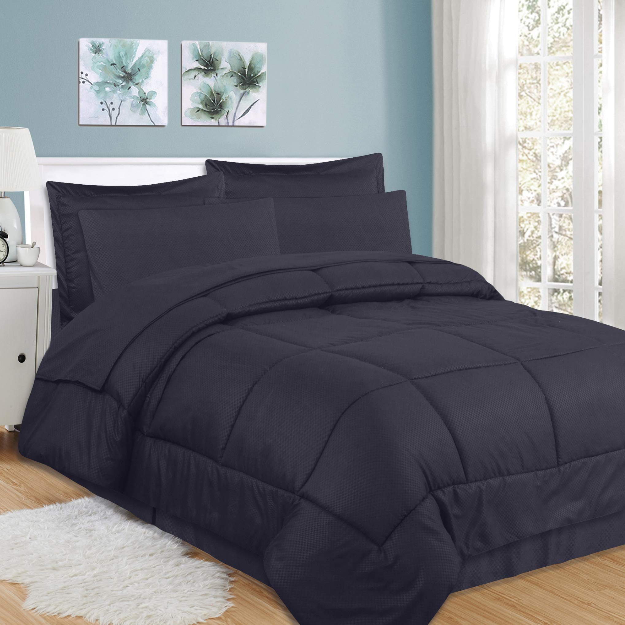 Sweet Home Collection 8 Piece Comforter Set Bag Design Bed Sheets 2 Pillowcases 2 Shams Down Alternative All Season Warmth Queen Checkered Navy Buy Online In Dominica At Dominica Desertcart Com Productid 122765534
