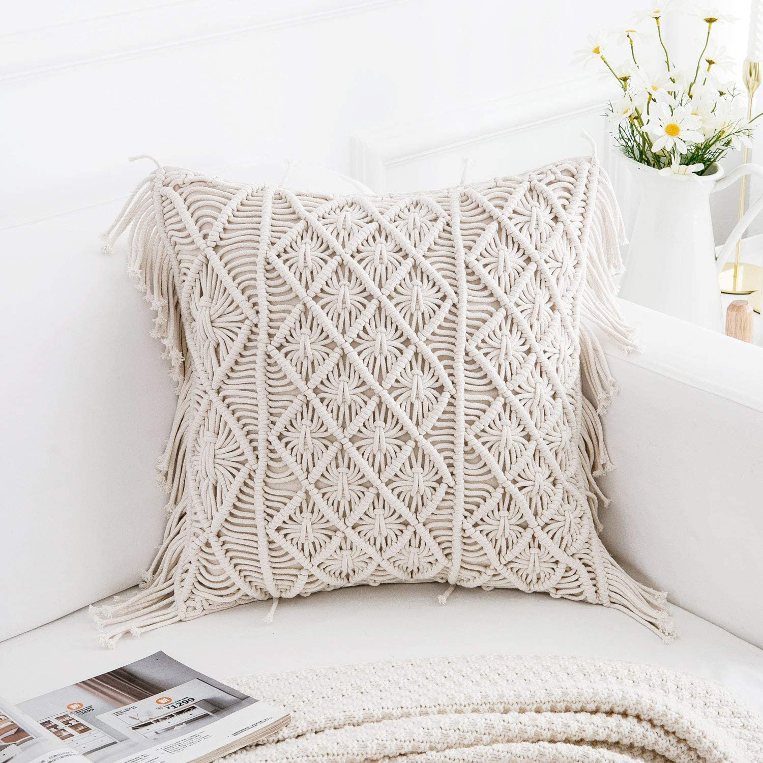 famibay Throw Pillow Covers Knit Chic Boho