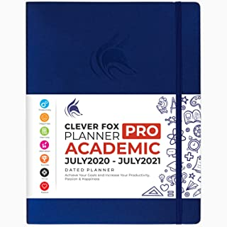 """$36 » Clever Fox Planner PRO Dated (Jul 2020-Jul 2021) Weekly & Monthly Life Planner to Increase Productivity, Time Management and Hit Your Goals - Organizer, Gratitude Journal - 8.5 x 11"""" - Mystic Blue"""