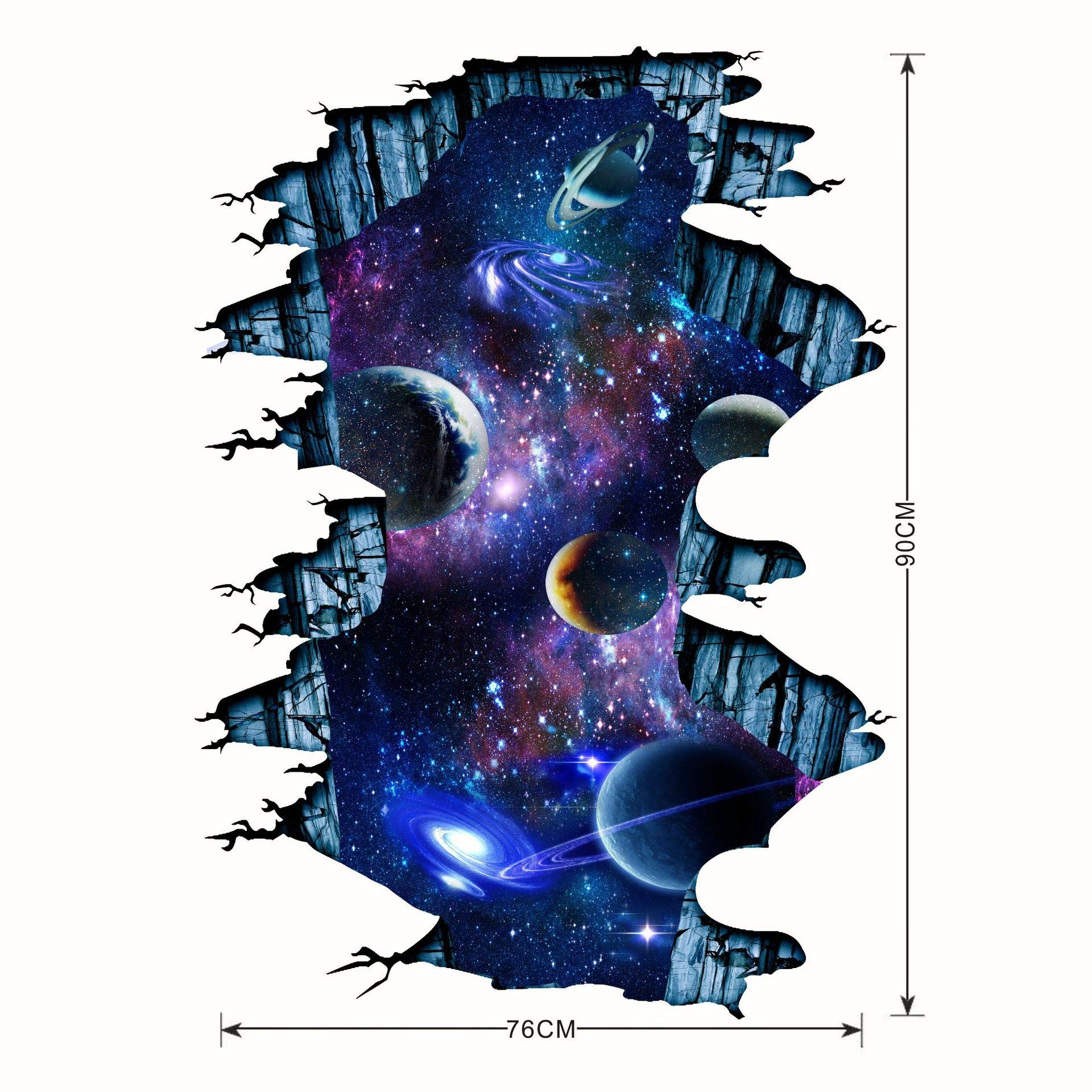 2 Set Blue Cosmic Galaxy Wall Decals Broken Wall View 3d Magic Milky Way Outer Space Planet Stickers Murals Wallpaper Decor For Home Floor Ceiling Living Room Kids Room Buy Online In